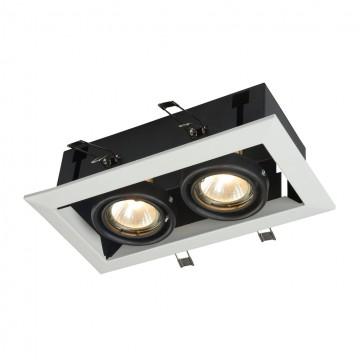 Встраиваемый светильник Maytoni Metal Modern DL008-2-02-W, 2xGU10x50W, белый, черный, металл