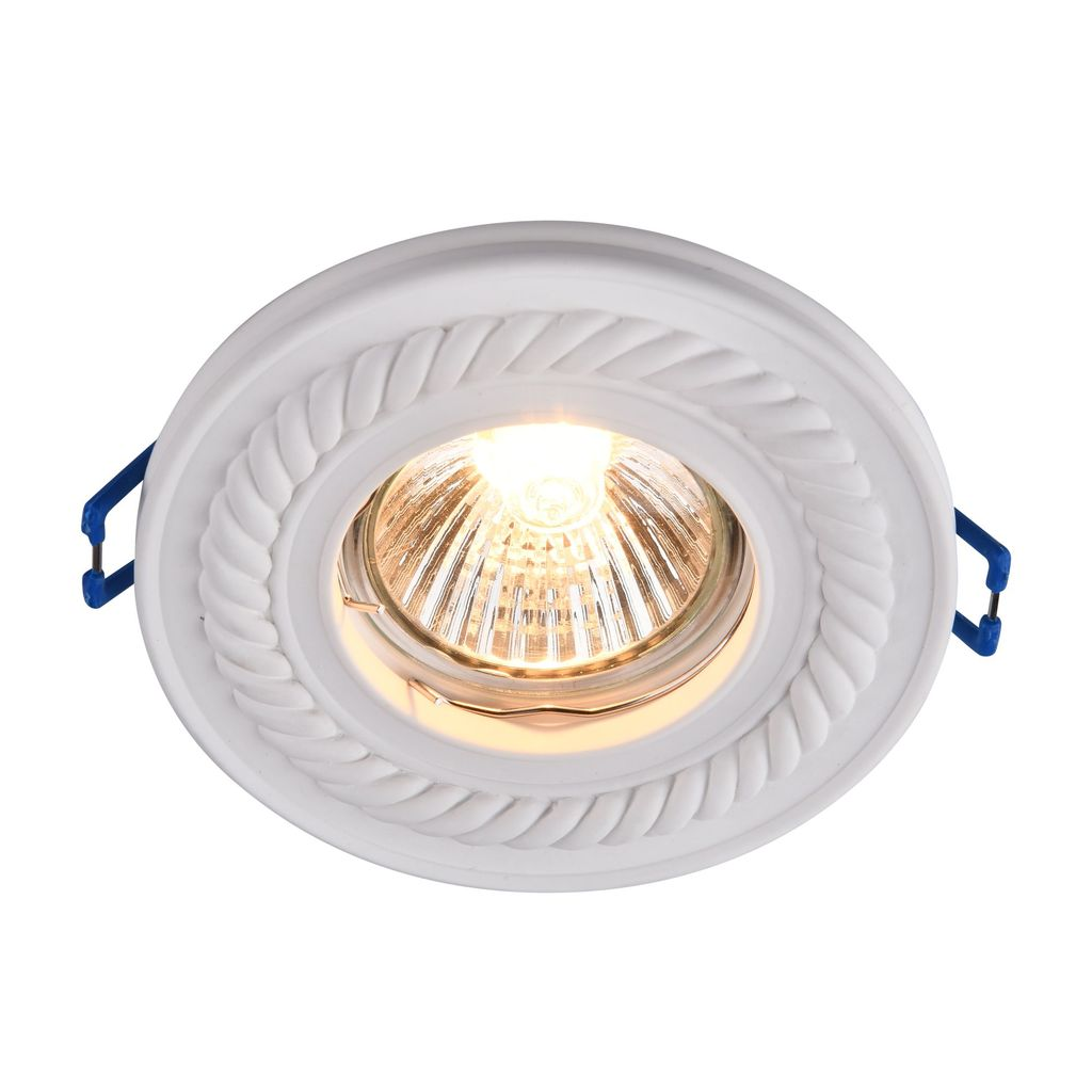 Встраиваемый светильник Maytoni Gyps Classic DL283-1-01-W, 1xGU10x35W, белый, под покраску, гипс - фото 1