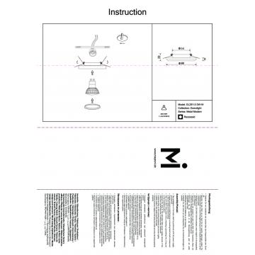 Схема с размерами Maytoni DL291-2-3W-W