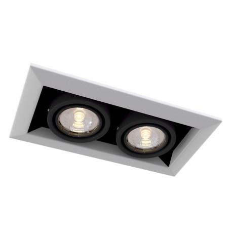 Встраиваемый светильник Maytoni Metal Modern DL008-2-02-W, 2xGU10x50W, белый с черным, металл