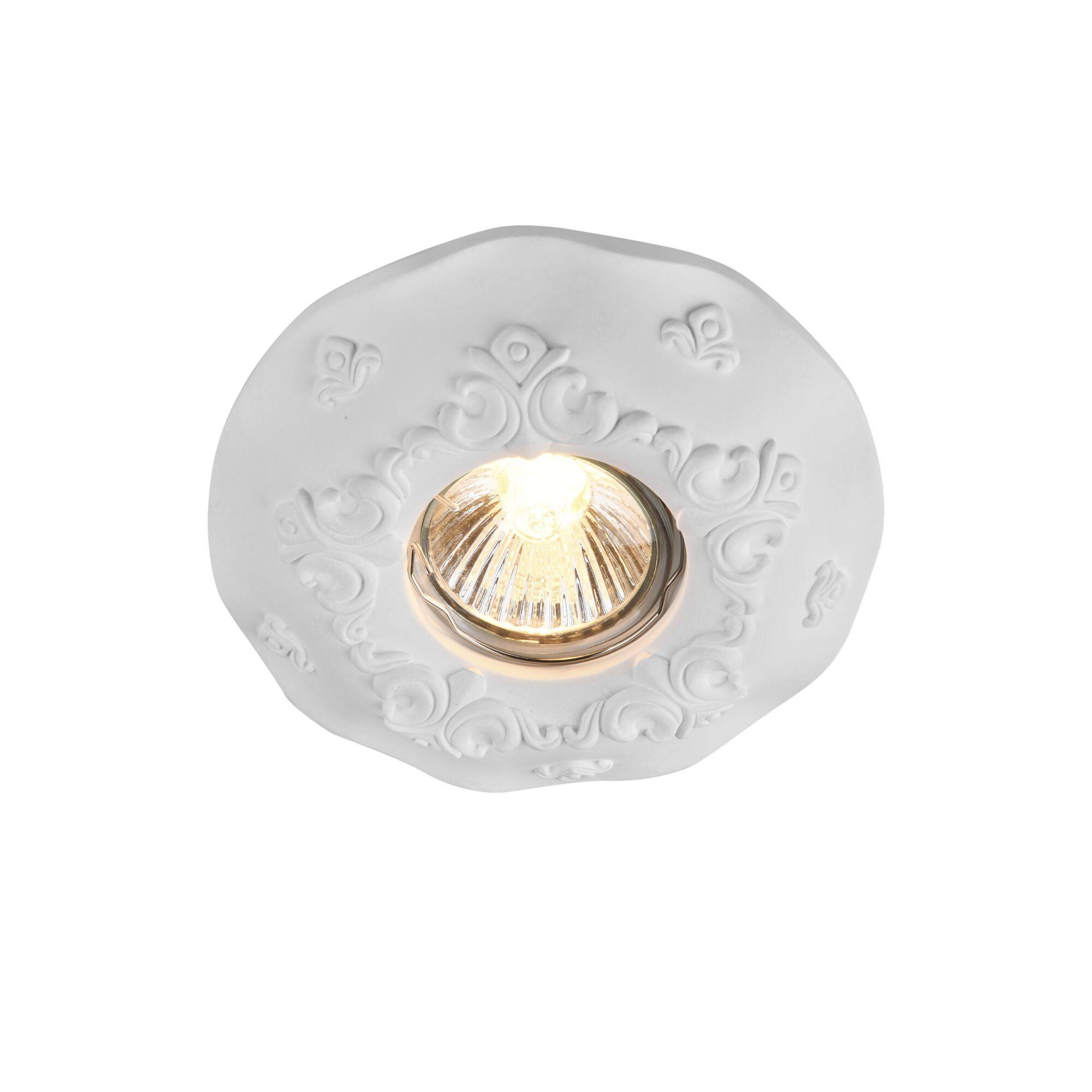 Встраиваемый светильник Maytoni Gyps Classic DL284-1-01-W, 1xGU10x35W, белый, под покраску, гипс - фото 1