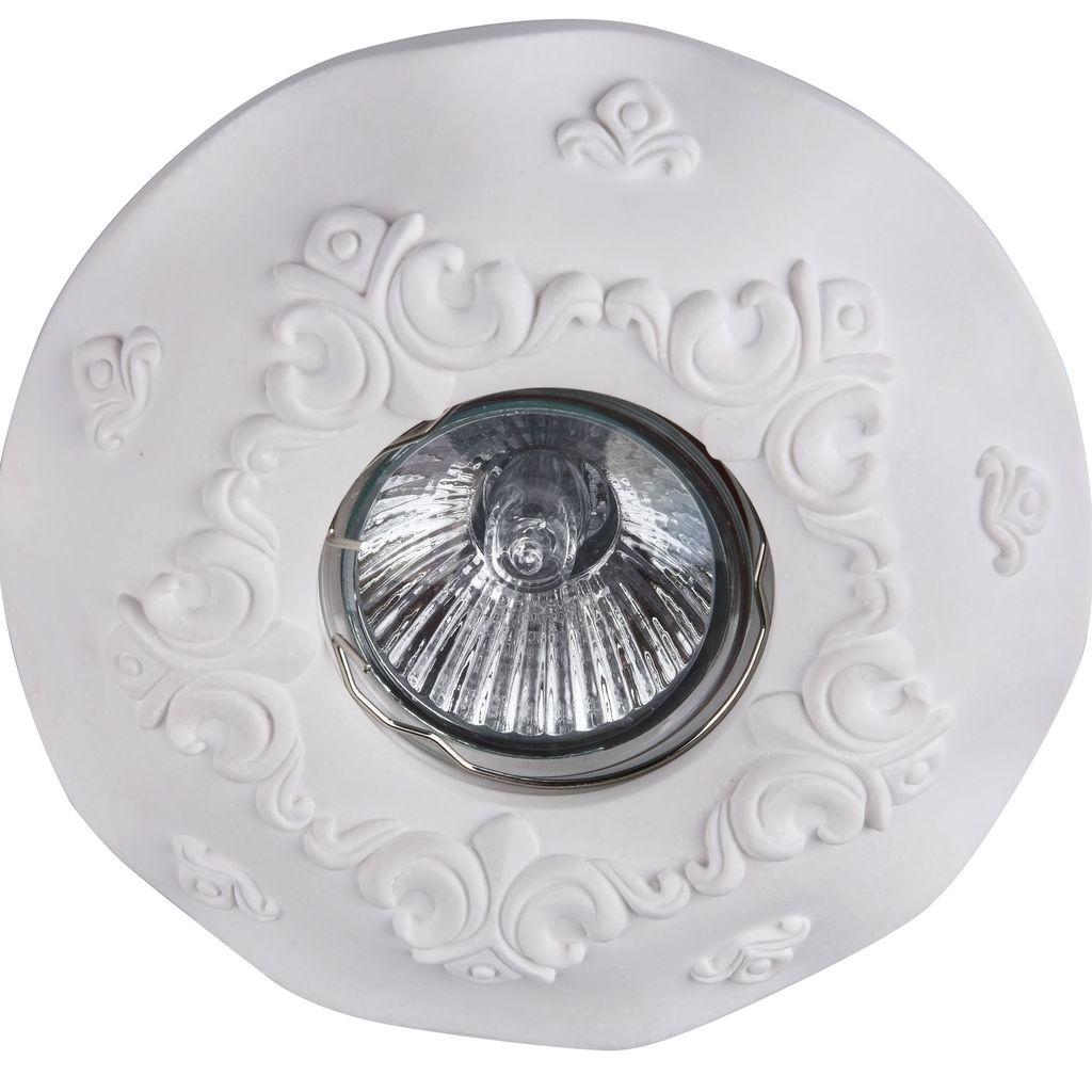 Встраиваемый светильник Maytoni Gyps Classic DL284-1-01-W, 1xGU10x35W, белый, под покраску, гипс - фото 3