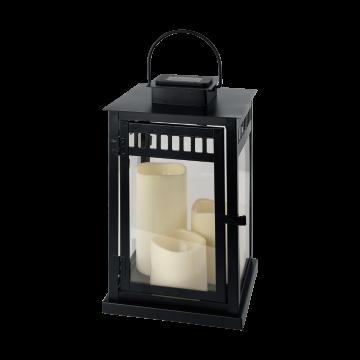 Садовый светодиодный светильник Eglo Solar 48593, IP44, LED 0,18W, прозрачный, черный, металл, пластик, стекло