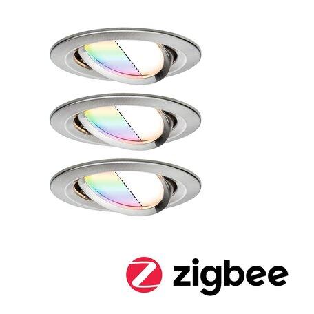 Встраиваемый светодиодный светильник Paulmann Nova Plus Zigbee Coin RGBW 92965, IP23, LED 2,5W, алюминий, металл