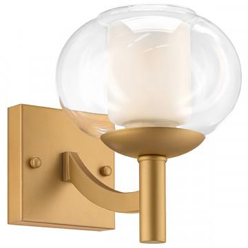 Бра Lightstar Fiamma 730613, 1xE27x40W, матовое золото, прозрачный, белый, металл, стекло