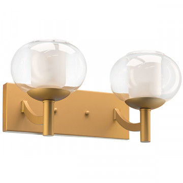 Бра Lightstar Fiamma 730623, 2xE27x40W, матовое золото, прозрачный, белый, металл, стекло