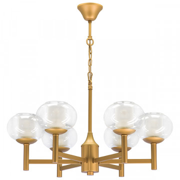 Подвесная люстра Lightstar Fiamma 730063, 6xE27x40W, матовое золото, прозрачный, белый, металл, стекло