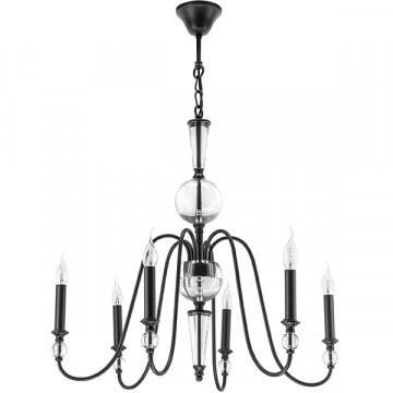 Подвесная люстра Lightstar Ragno 732067, 6xE14x40W, прозрачный, черный, металл, стекло