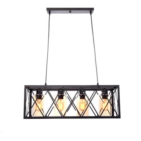 Подвесной светильник Lumina Deco Nortis LDP 11535-4 BK, 4xE27x40W, черный с янтарем, металл со стеклом