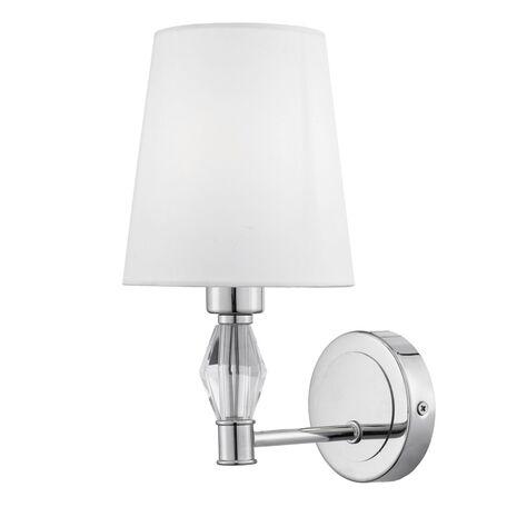 Бра Maytoni Modern Stein MOD038WL-01CH, 1xE14x40W, хром с прозрачным, белый, металл со стеклом, текстиль