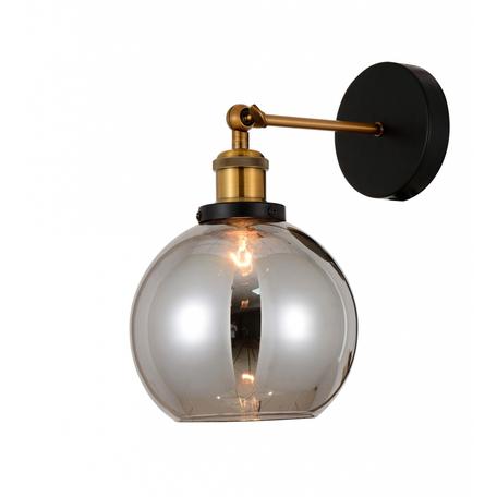 Настенный светильник Lumina Deco Zagallo LDW 11336 GY, 1xE27x40W, черный, бронза, дымчатый, металл, стекло
