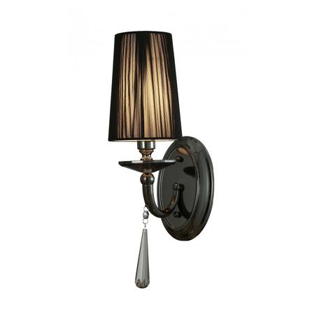 Настенный светильник Lumina Deco Fabione LDW 1200-1W BK, 1xE14x40W, черный, прозрачный, металл со стеклом, текстиль, хрусталь