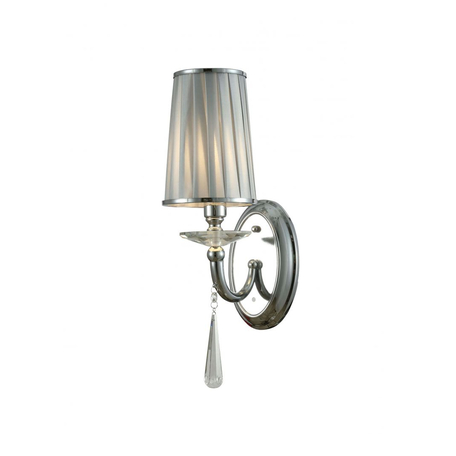 Настенный светильник Lumina Deco Fabione LDW 1200-1W CHR, 1xE14x40W, хром, серебро, прозрачный, металл со стеклом, текстиль, хрусталь