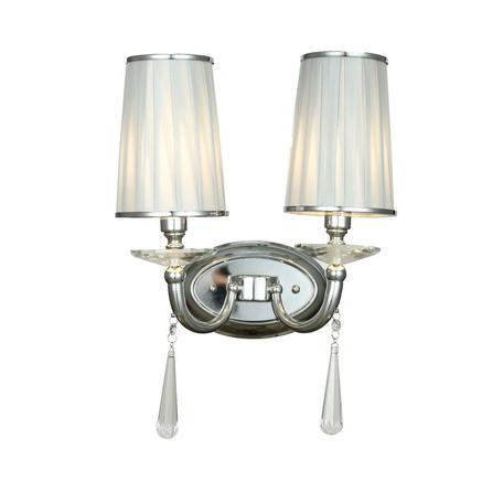 Настенный светильник Lumina Deco Fabione LDW 1200-2W CHR, 2xE14x40W, хром, серебро, прозрачный, металл со стеклом, текстиль, хрусталь