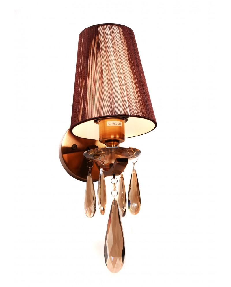 Настенный светильник Lumina Deco Alessia LDW 1726-1W MD, 1xE27x40W, бронза, коричневый, янтарь, металл со стеклом, текстиль, хрусталь - фото 1