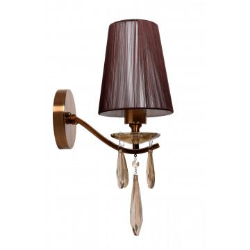 Настенный светильник Lumina Deco Alessia LDW 1726-1W MD, 1xE27x40W, бронза, коричневый, янтарь, металл со стеклом, текстиль, хрусталь - миниатюра 2