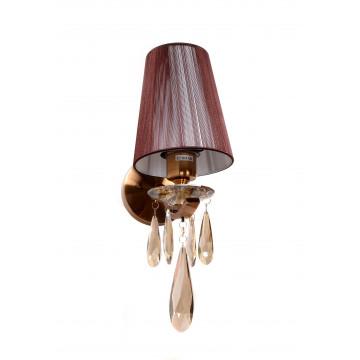 Настенный светильник Lumina Deco Alessia LDW 1726-1W MD, 1xE27x40W, бронза, коричневый, янтарь, металл со стеклом, текстиль, хрусталь - миниатюра 3