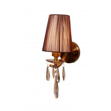 Настенный светильник Lumina Deco Alessia LDW 1726-1W MD, 1xE27x40W, бронза, коричневый, янтарь, металл со стеклом, текстиль, хрусталь - миниатюра 4