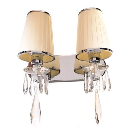 Настенный светильник Lumina Deco Alessia LDW 1726-2W BG, 2xE27x40W, хром, бежевый, прозрачный, металл со стеклом, текстиль, хрусталь