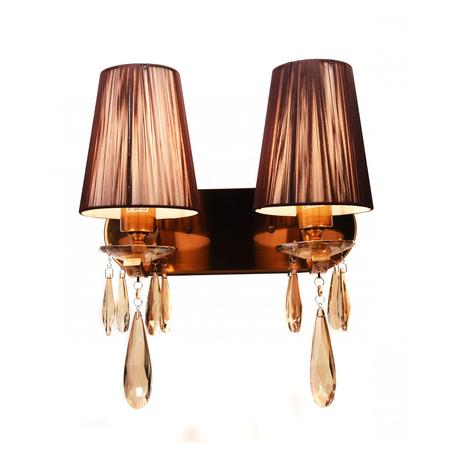 Настенный светильник Lumina Deco Alessia LDW 1726-2W MD, 2xE27x40W, бронза, коричневый, янтарь, металл со стеклом, текстиль, хрусталь