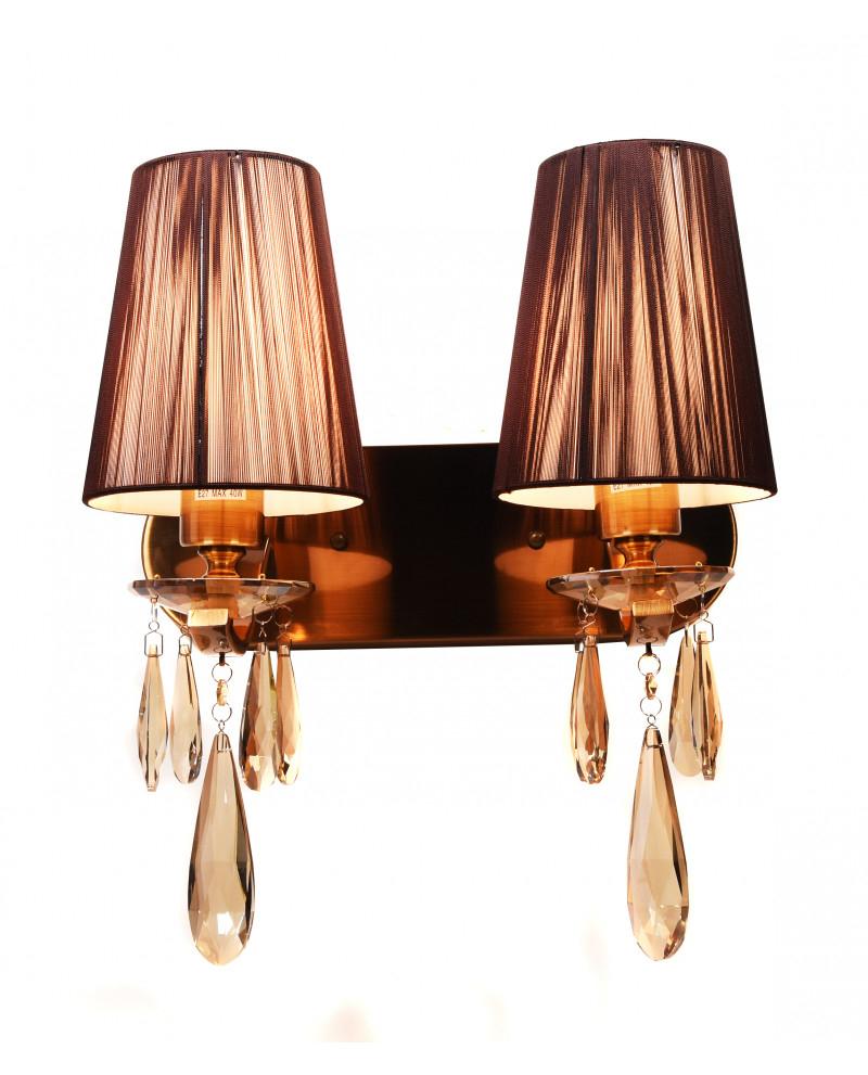 Настенный светильник Lumina Deco Alessia LDW 1726-2W MD, 2xE27x40W, бронза, коричневый, янтарь, металл со стеклом, текстиль, хрусталь - фото 1
