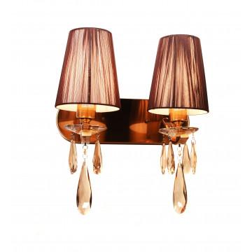 Настенный светильник Lumina Deco Alessia LDW 1726-2W MD, 2xE27x40W, бронза, коричневый, янтарь, металл со стеклом, текстиль, хрусталь - миниатюра 2