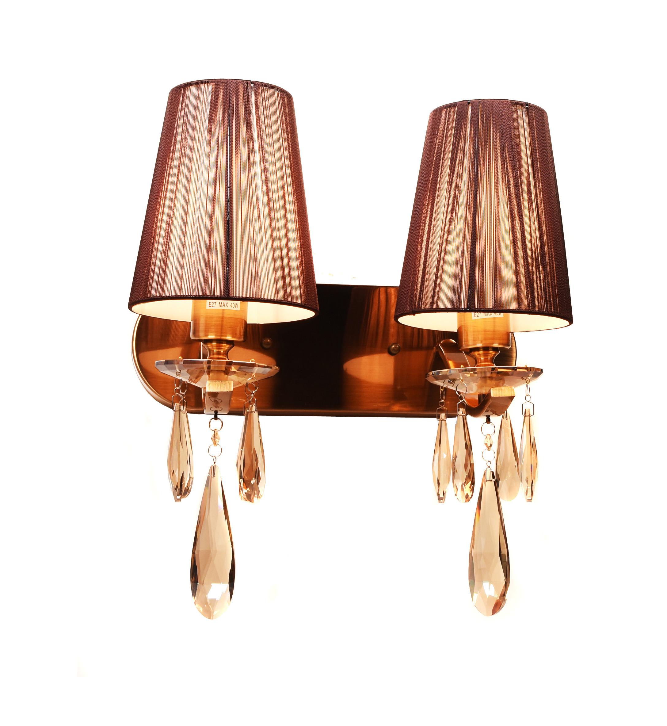 Настенный светильник Lumina Deco Alessia LDW 1726-2W MD, 2xE27x40W, бронза, коричневый, янтарь, металл со стеклом, текстиль, хрусталь - фото 2