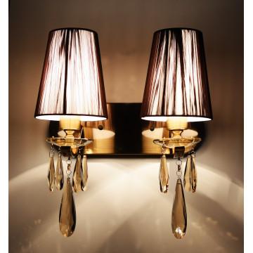 Настенный светильник Lumina Deco Alessia LDW 1726-2W MD, 2xE27x40W, бронза, коричневый, янтарь, металл со стеклом, текстиль, хрусталь - миниатюра 3