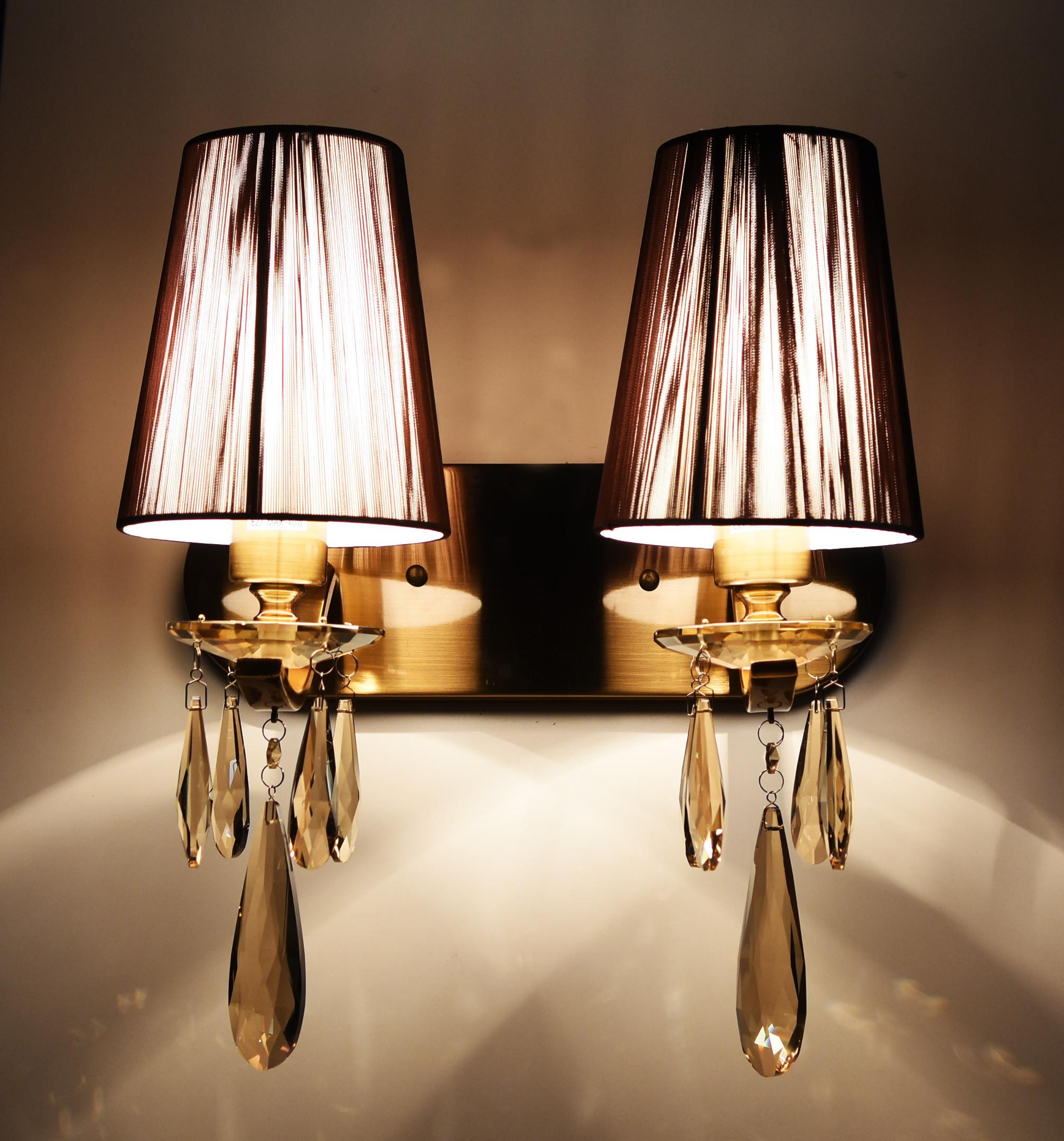 Настенный светильник Lumina Deco Alessia LDW 1726-2W MD, 2xE27x40W, бронза, коричневый, янтарь, металл со стеклом, текстиль, хрусталь - фото 3
