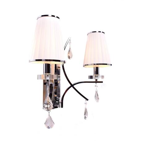 Настенный светильник Lumina Deco Glamour LDW 66247-2 WT+CHR, 2xE14x40W, хром, белый, прозрачный, металл со стеклом, текстиль, хрусталь