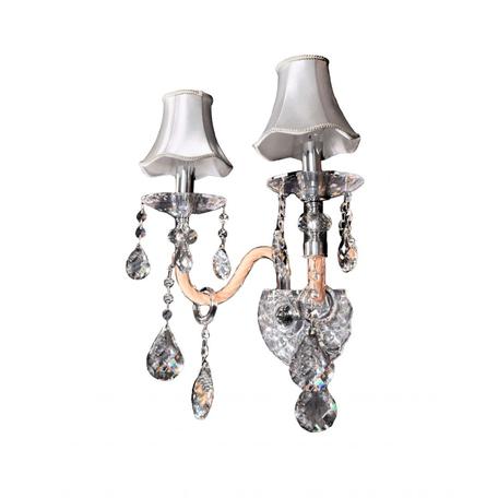 Настенный светильник Lumina Deco Denica LDW 66249-2 WT, 2xE14x40W, хром, прозрачный, бежевый, серебро, стекло, текстиль, хрусталь