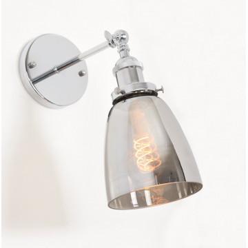 Настенный светильник Lumina Deco Fabi LDW 6800-1 CHR+GY, 1xE27x40W, хром, дымчатый, металл, стекло - миниатюра 2