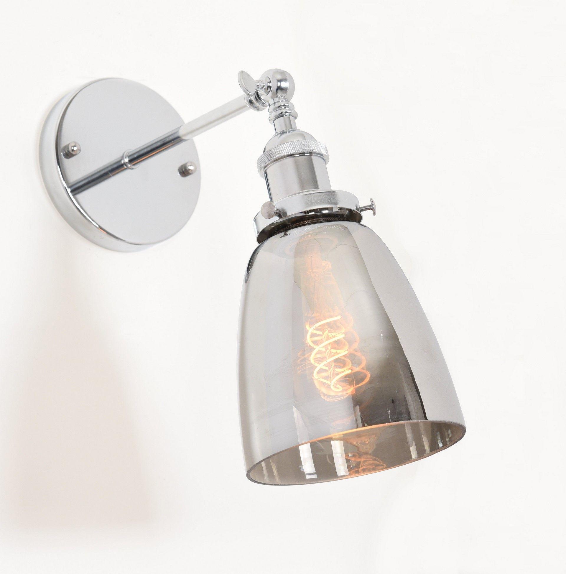 Настенный светильник Lumina Deco Fabi LDW 6800-1 CHR+GY, 1xE27x40W, хром, дымчатый, металл, стекло - фото 2