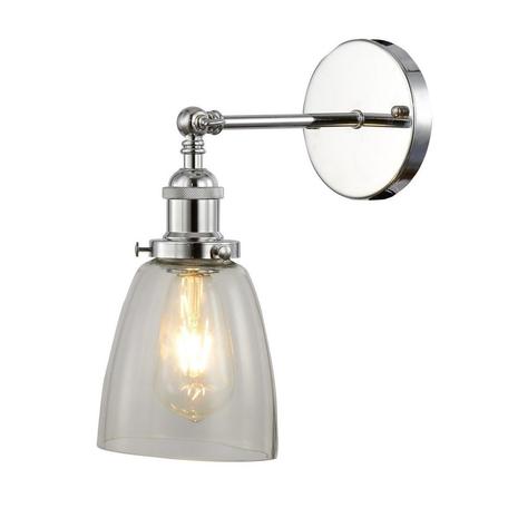 Настенный светильник Lumina Deco Fabi LDW 6800-1 CHR+PR, 1xE27x40W, хром, прозрачный, металл, стекло