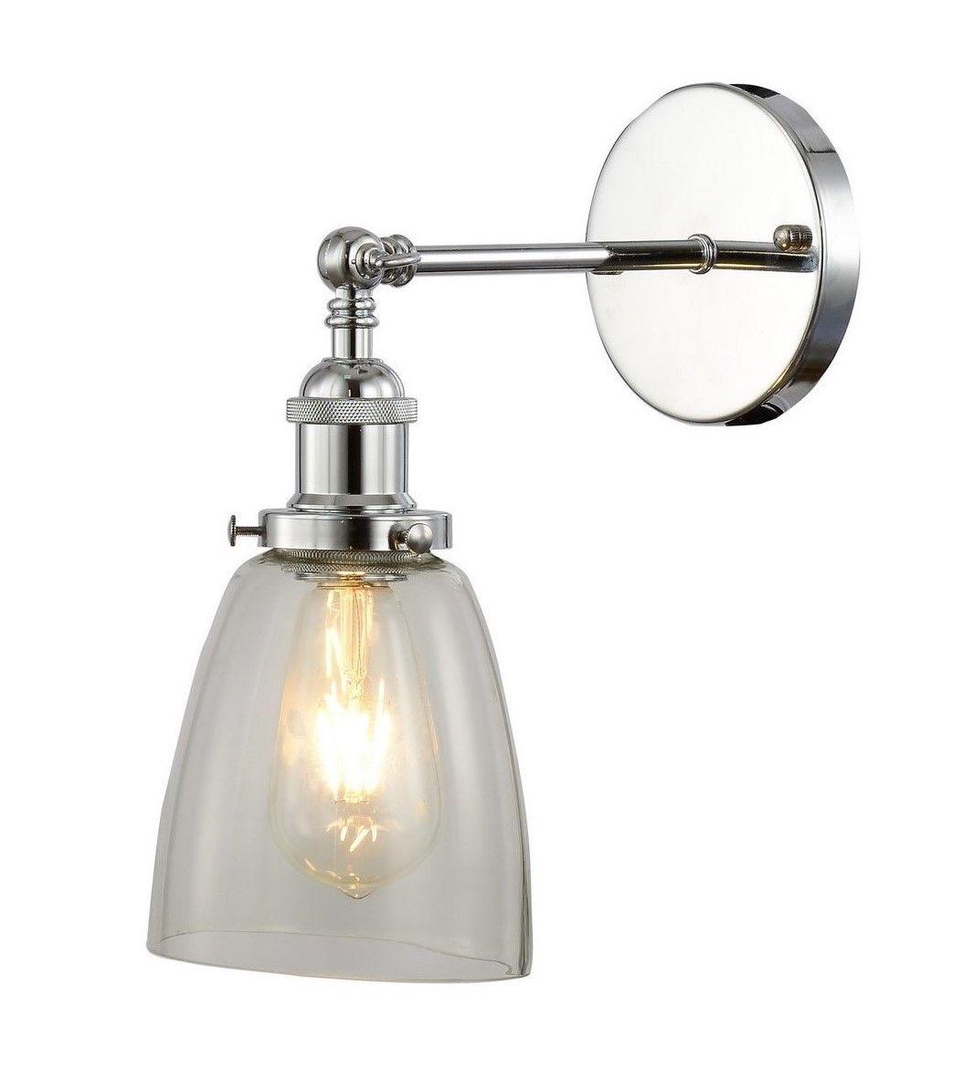 Настенный светильник Lumina Deco Fabi LDW 6800-1 CHR+PR, 1xE27x40W, хром, прозрачный, металл, стекло - фото 1