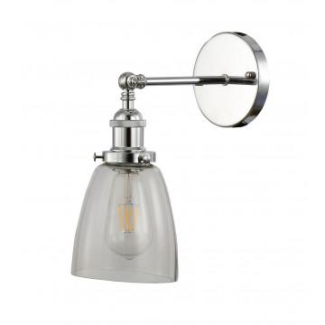 Настенный светильник Lumina Deco Fabi LDW 6800-1 CHR+PR, 1xE27x40W, хром, прозрачный, металл, стекло - миниатюра 2