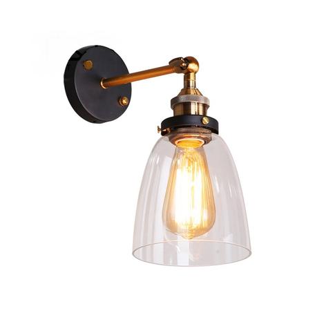 Настенный светильник Lumina Deco Fabi LDW 6800-1 MD+PR, 1xE27x40W, черный, бронза, прозрачный, металл, стекло