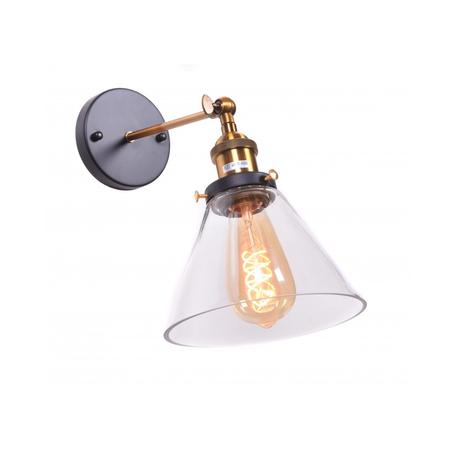 Настенный светильник Lumina Deco Nubi LDW 6801-1 MD+PR, 1xE27x40W, черный, бронза, прозрачный, металл, стекло