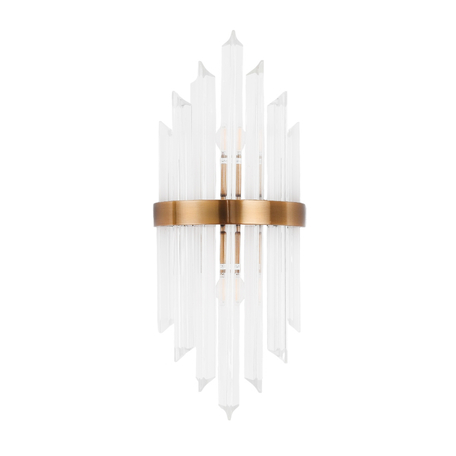 Настенный светильник Lumina Deco Ringletti LDW 8017-2 MD, 2xE14x40W, матовое золото, прозрачный, металл, стекло