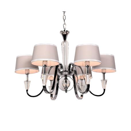 Подвесная люстра Lumina Deco Capucci LDP 66076-6 CHR, 6xE14x40W, хром, коричневый, металл со стеклом, текстиль