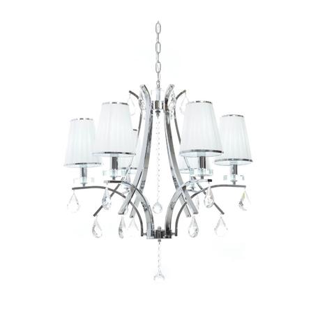 Подвесная люстра Lumina Deco Glamour LDP 66247-6 WT+CHR, 6xE14x40W, хром, белый, прозрачный, металл со стеклом, текстиль, хрусталь