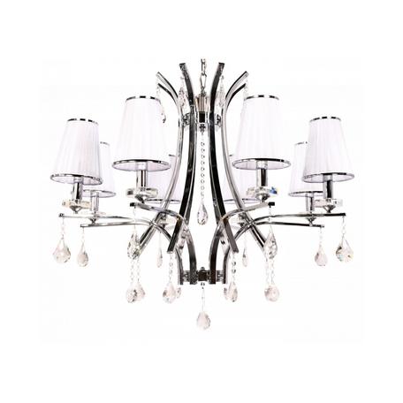 Подвесная люстра Lumina Deco Glamour LDP 66247-8 WT+CHR, 8xE14x40W, хром, белый, прозрачный, металл со стеклом, текстиль, хрусталь