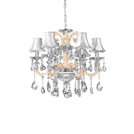 Подвесная люстра Lumina Deco Denica LDP 66249-6 WT, 6xE14x40W, хром, прозрачный, бежевый, серебро, стекло, текстиль, хрусталь