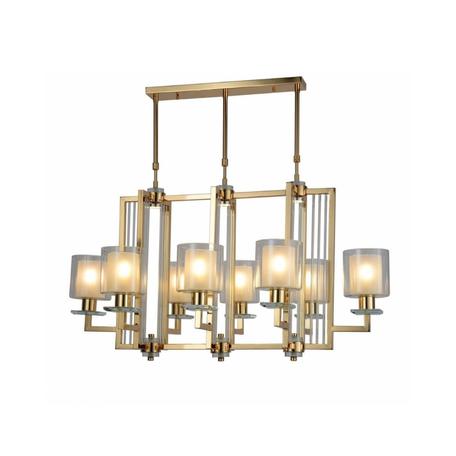 Подвесная люстра Lumina Deco Manhattan LDP 8012-8P F.GD, 8xE27x40W, золото, белый, прозрачный, металл со стеклом, стекло