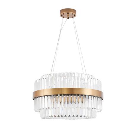 Подвесная светодиодная люстра Lumina Deco Ringletti LDP 8017-600 MD, LED, матовое золото, прозрачный, металл, стекло