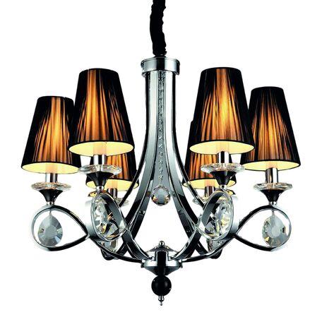 Подвесная люстра Lumina Deco Negrio LDP 8903-6, 6xE14x40W, хром, черный, прозрачный, металл со стеклом, текстиль, хрусталь