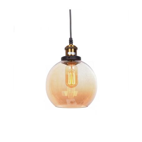 Подвесной светильник Lumina Deco Navarro LDP 6802 TEA, 1xE27x40W, черный, янтарь, металл, стекло