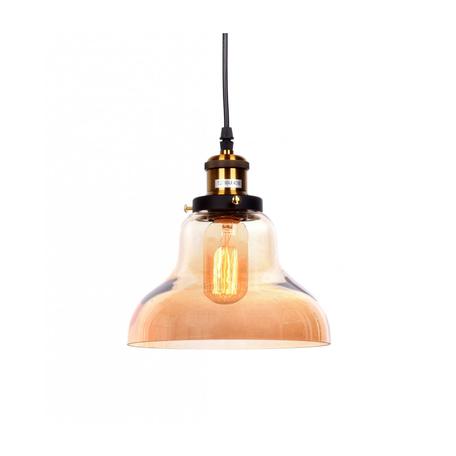 Подвесной светильник Lumina Deco Zubi LDP 6803 TEA, 1xE27x40W, черный, янтарь, металл, стекло