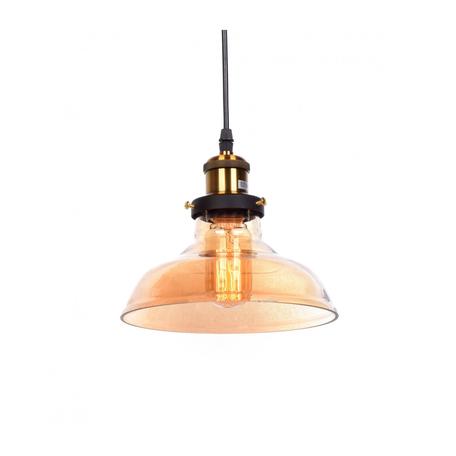 Подвесной светильник Lumina Deco Gabi LDP 6804 TEA, 1xE27x40W, черный, янтарь, металл, стекло