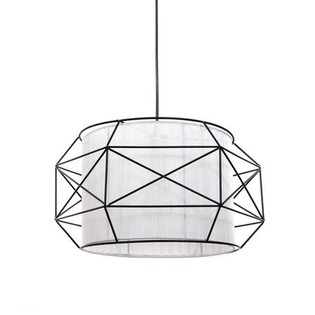 Подвесной светильник Lumina Deco Berti LDP 8001 BK+WT, 1xE27x40W, черный, белый, черно-белый, металл, текстиль